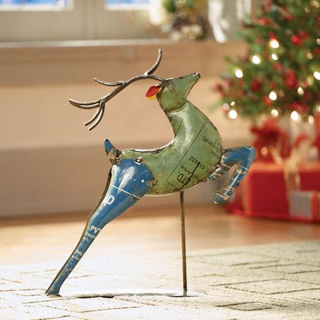 Leaping Reindeer Garden Sculpture
