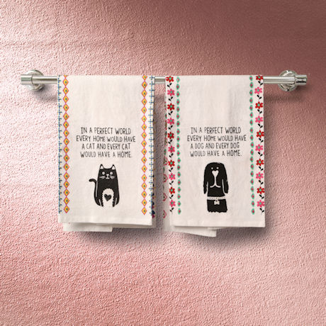 In a Perfect World Cat and Dog Dish Towels