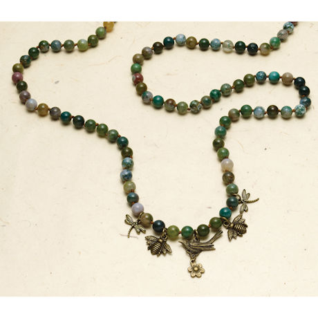 Moss Agate Charm Necklace
