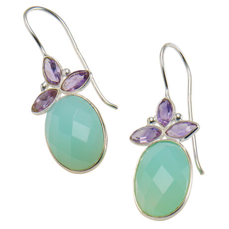 Amethyst and Chalcedony Earrings