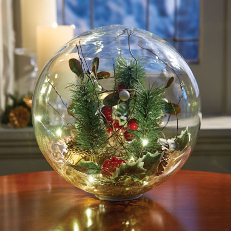Lighted Glass Holiday Orb