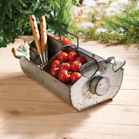 Galvanized Pig Garden Basket