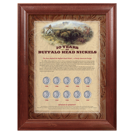 10 Years Of Buffalo Nickels - Wood Frame
