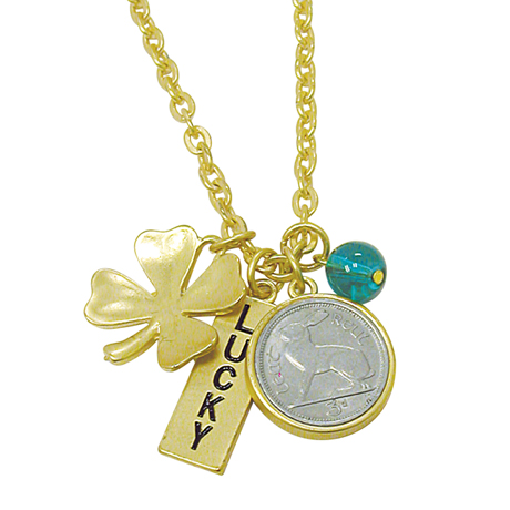 Goldtone Rabbit Coin And Lucky Tag Pendant