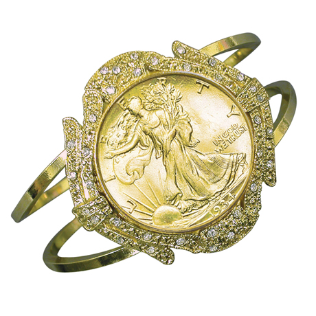 Gold-Layered Silver Walking Liberty Half Dollar Goldtone Coin Cuff Bracelet With Crystals Coin Jewelry