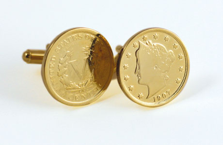 Gold Layered Liberty Nickel Cufflinks Signals Hy1192