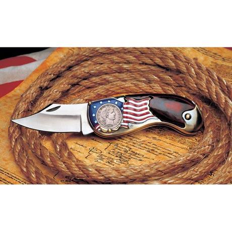 Silver Barber Quarter Pocket Knife
