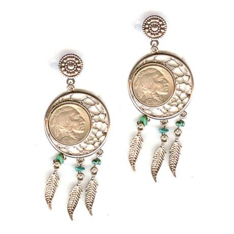 Dream Catcher Buffalo Nickel Post Earrings