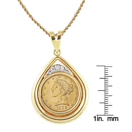 "$5 Liberty Gold Piece Half Eagle Coin In 14K Gold Teardrop Pendant W/Diamonds (18"" - 14K Gold Rope Chain)"