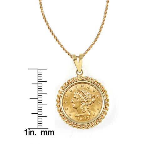 "$2.50 Liberty Gold Piece Quarter Eagle Coin In 14K Gold Rope Bezel (18"" - 14K Gold Rope Chain)"