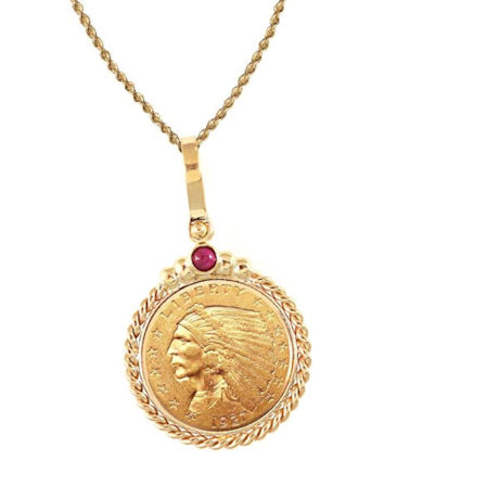 "$2.50 Indian Head Gold Piece Quarter Eagle Coin In 14K Gold Twisted Rope Bezel W/Ruby (18"" - 14K Gold Rope Chain)"
