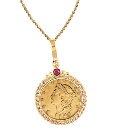 "$20 Liberty Gold Piece Double Eagle Coin In 14K Gold Twisted Rope Bezel W/Ruby (18"" - 14K Gold Rope Chain)"