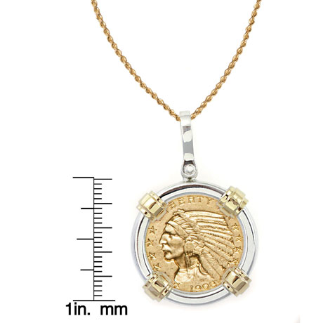 "$5 Indian Head Gold Piece Half Eagle Coin In Sterling Silver & 14K Gold Bezel (18"" - 14K Gold Rope Chain)"