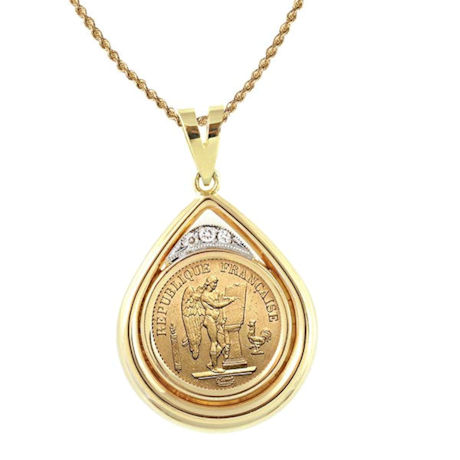 """French 20 Franc Lucky Angel Gold Piece Coin In 14K Gold Teardrop Pendant W/Diamonds (18"""" - 14K Gold Rope Chain)"""