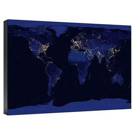 World At Night Wall Canvas