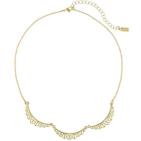 Downton Abbey Gold Tone Filigree Scallop Necklace