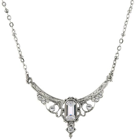 Downton Abbey Silver Tone Crystal Statement Necklace
