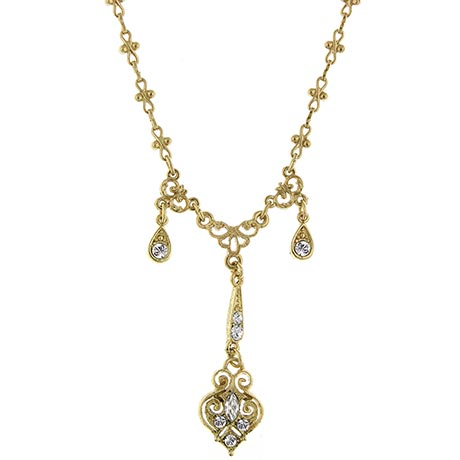 Downton Abbey Gold Tone Triple Drop Crystal Necklace