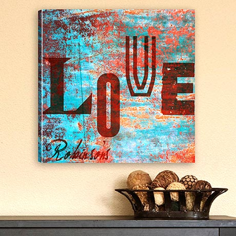Watercolor Love Canvas Print - Graffiti Style Love