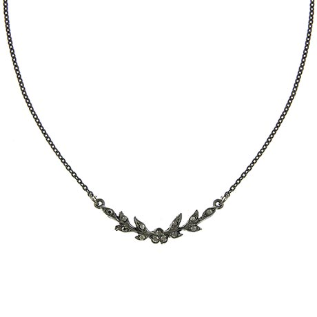 Downton Abbey Jeweled Faux Jet Leaf Collar Necklace