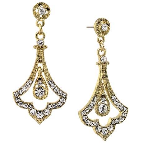 Downton Abbey Crystal Pave Gold Tone Fleur Drop Earrings
