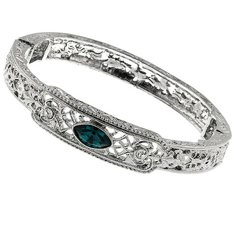 Downton Abbey Blue Sapphire Filigree Silver Bangle