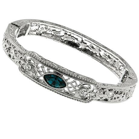 Downton Abbey Blue Sapphire Filigree Silver Bangle