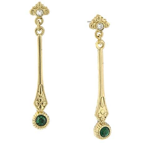 Downton Abbey Gold Tone Emerald Crystal Linear Drop Earrings