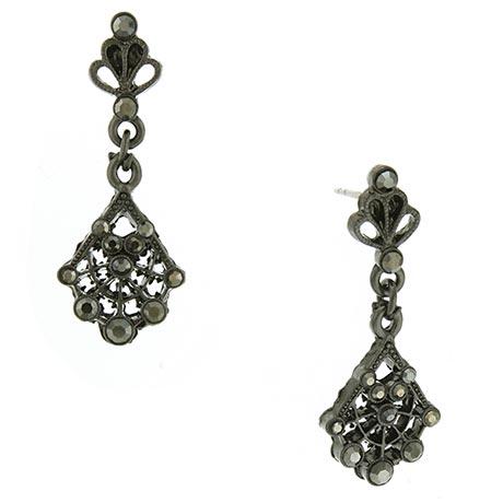 Downton Abbey Faux Jet Jeweled Fan Drop Earrings