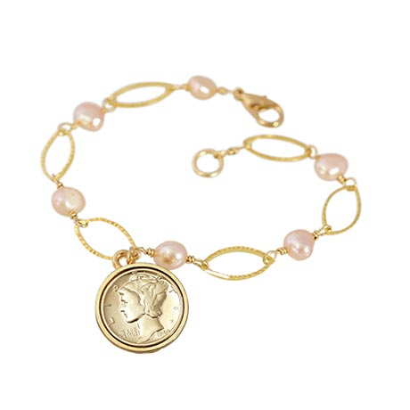 Gold Layered Silver Mercury Dime Pearl Bracelet