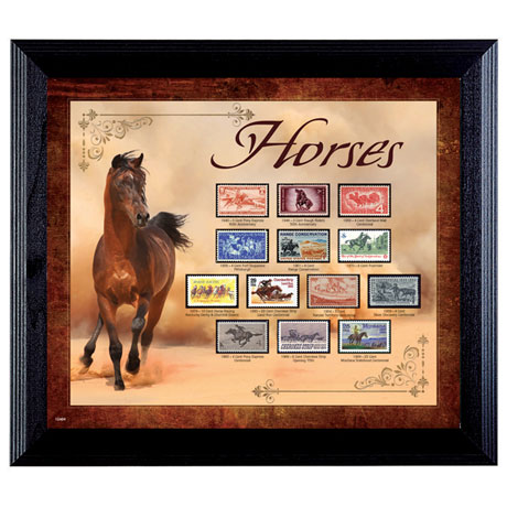 Horses on Stamps in Wall Frame