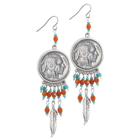 Buffalo Nickel Silvertone Feather Earrings