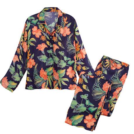 Hibiscus Satin Pajamas