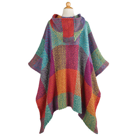 Herringbone Colorblock Hooded Cape