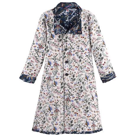 Reversible Floral Jacquard Coat