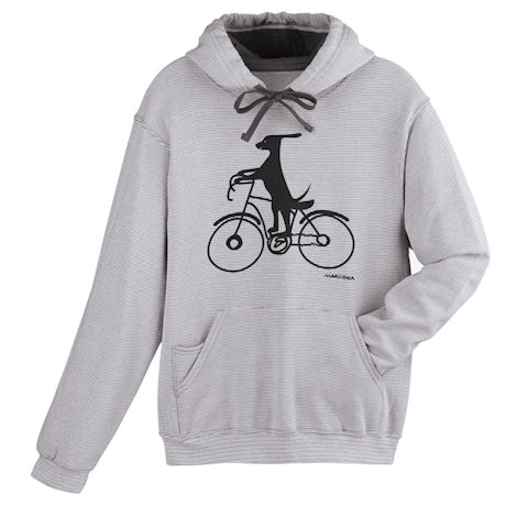 Cycling Dog Striped Hoodie