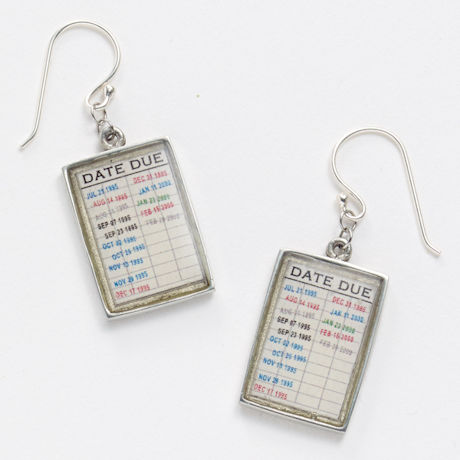 Library Checkout Card Earrings