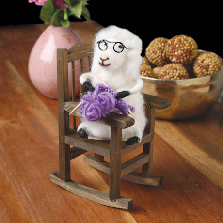 Knitting Sheep in Rocking Chair