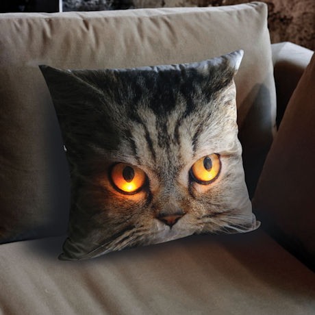 Glowing Eyes Tabby Cat Pillow