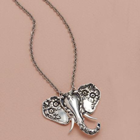 Silver Spoon Elephant Necklaces