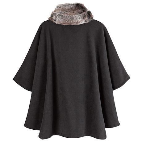 Tasha Faux Fur-Trimmed Poncho