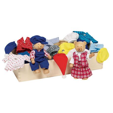 Wooden Dress-Up Bears