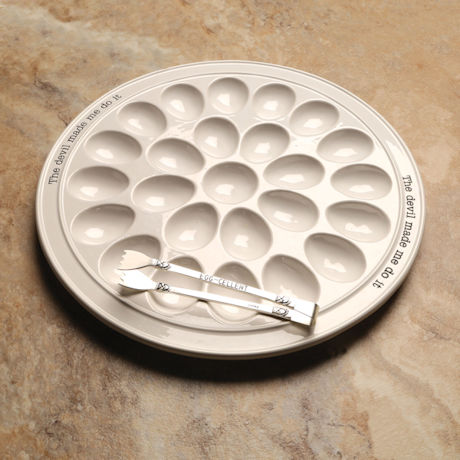 The Devil Made Me Do It - Deviled Egg Tray & Tongs Set