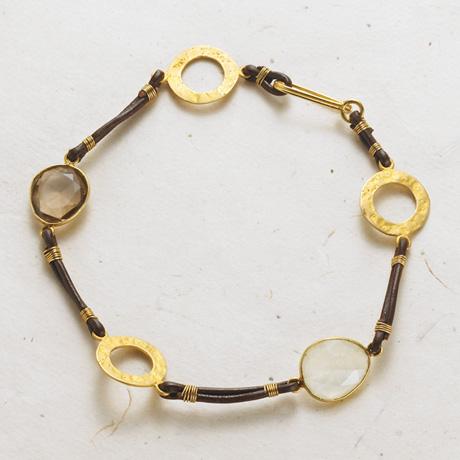 Discs and Stones Leather Bracelet