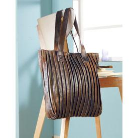 Pleated Antiqued Leather Handbag