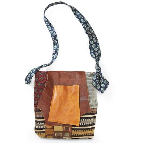 Necktie-Strap Patchwork Bag