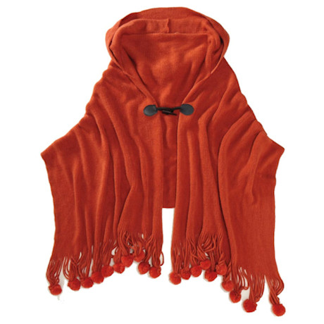 Hooded Pom-Pom Cape