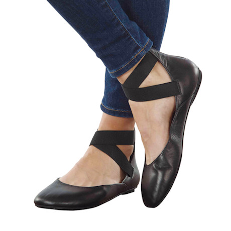 Leather Ballet Flats - with Zipper Close