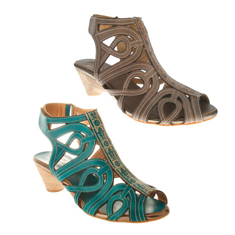 "Patrizia Sandals - Leather Gladiator Sandal Boots with 2"" Tapered Heel and Velcro Close"