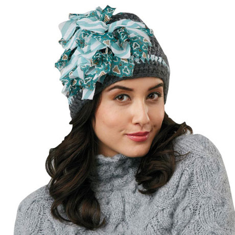 Flouncy Flower Knit Hats - Zelda (Gray)
